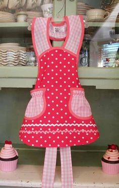 Pink Polka Dot Pink Gingham Girl Aprons