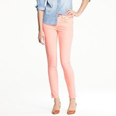 Just bought the toothpick jean from jcrew in papaya - such a great fit perfect for Spring and come in some great colours $125