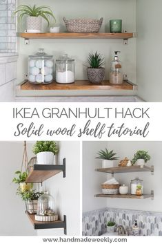 Welcome to the Inspire Me Tuesday. Check out a few links from last week and then link up all your latest projects. This Laundry – Bathroom Makeover is full of inspiration and DIY Projects. Ikea Shelf Hack, Ikea Shelves, Ikea Storage, Shelving, Solid Wood Shelves, Wood Shelf, Furniture Makeover, Diy Furniture, Cooking