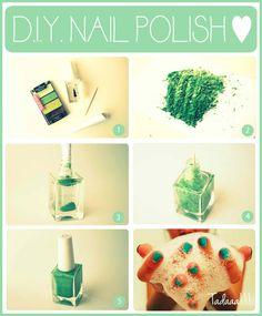 How to make homemade nail polish using old eyeshadow and clear polish...interesting!