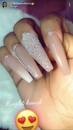 nude beige glitter and crystal nail art