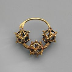 Medieval gold filigree basket earring. Kiev, Ukraine. 12th-13th century AD. Hermitage Museum