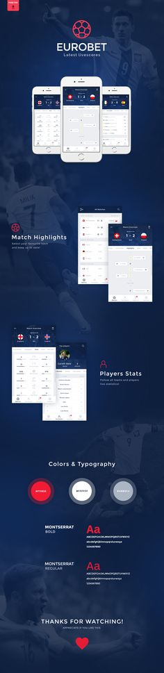 Get the latest championship scores! Eurobet is free PSD Mobile App with clean fonts and elegant design. This template includes 6 screens that will provide the necessary inspiration to create your next UI project.