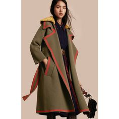 Burberry Stretch Wool Cashmere Cardigan Coat with Shearling Collar ($3,595) ❤ liked on Polyvore featuring outerwear, coats, burberry, shearling collar coat, cardigan coat, wool cashmere coat and cashmere coat
