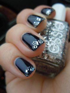 Black nails with silver Essie glitter tip.  #nails #nailart #nailpolish #manicure
