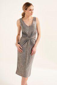 Drapiertes, verdrehtes Kleid mit Schimmer