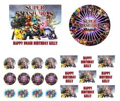 SUPER SMASH BROS Birthday Cake Frosting Edible Image Toppers, Cupcakes, or Sides by WilsonCakeImaging on Etsy