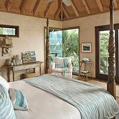 Incorporate Natural Elements - Our 60 Prettiest Island Rooms - Coastal Living Mobile Tropical Bedroom Decor, Neutral Bedroom Decor, Tropical Bedrooms, Coastal Bedrooms, Coastal Living Rooms, Room Decor Bedroom, Coastal Rugs, Beach Bedrooms, Master Bedroom