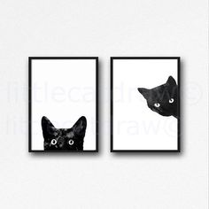 Black Cat Print Set Watercolor Prints Cat Art Illustration Cat Lover Gift Black and White Minimalist Home Decor 2 Art Prints Unframed