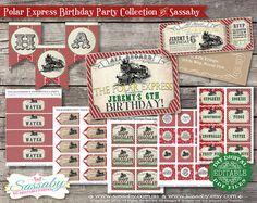 Polar Express Birthday Collection Red & Green - DIY PRINTABLE FILES - Christmas Printables by Sassaby