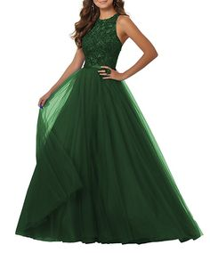 13b257ece32 Crewneck A-Line Beaded Tulle Plus Size Prom Dress Long Formal Evening Party Gown  Size 28 Green
