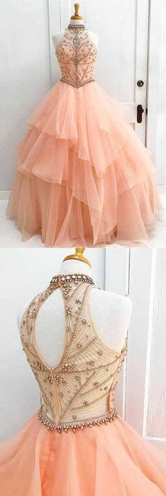 charming high neck prom dress ruffle beading wedding dress ball gown evening dress sleeveless cocktaildress,HS031 #fashion#promdress#eveningdress#promgown#cocktaildress