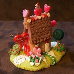 Sweetheart Gingerbread Hotel is a Miniature by wonderworks on Etsy, $85.00