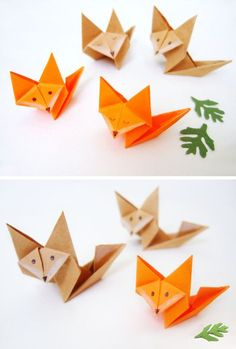 Paper origami fox - Great babysitter idea with the kids, especially for weddings. Clean crafting for kid tables at weddings! www.UniversitySitters.com/event-babysitters