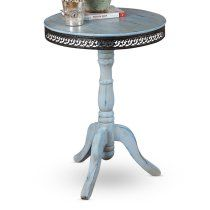 I could make this - goodwill table, repainted, distressed, and trimmed with inexpensive, flexible pressed tin trim from Lowes or a craft store.