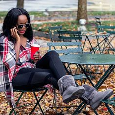 Rocking plaid in our new #classicslim is @cocobassey for winter!  Shop bio link | #thisisUGG #stylinity #repost