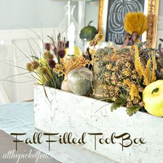 Vintage Tool Box Turned Frugal Fall Centerpiece - At The Picket Fence