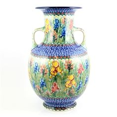 Unikat Polish Pottery Stoneware Grecian Style Vase