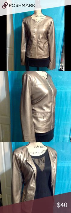 Bronze Faux Leather Jacket- XL NWT Liz Claiborne Career size XL. Bronze Faux Leather. Full zip, fully lined. Jackets & Coats