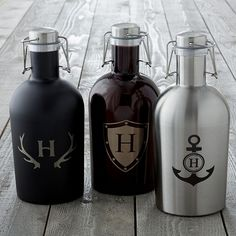 Monogrammed Stainless Steel Growler - Enjoy your favorite draught beers from the comfort of your own living room, patio or porch with this sturdy growler. Made from stainless steel and equipped with a tight-sealing wire-flip lid, our handsome growler will keep cold beverages chilled and carbonated.