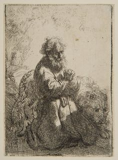 Rembrandt van Rijn – Saint Jerome Kneeling, 1635, Etching | Harvard Art Museums