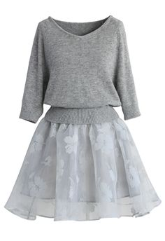Bonjour Twinset Organza Dress in Grey - New Arrivals - Retro, Indie and Unique Fashion