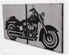 Distressed Harley Davidson Motorcycle Screenprint Wall Art