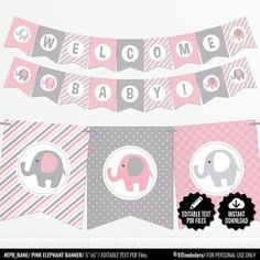 Pink Elephant Baby Shower Banner - Girl Baby Banner - Pink and Gray Baby Shower Decorations - Baby Girl Decor - Printable Garland Baby Shower Azul, Baby Shower Bunting, Grey Baby Shower, Shower Bebe, Shower Banners, Elephant Baby Showers, Pink Elephant, Decoracion Baby Shower Niña, Imprimibles Baby Shower