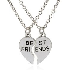 Fashion Two - piece set New hot 2pcs/set Heart Shaped Stitching Best Friends Couple Pendant Necklace Valentine's Day Gift