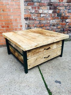 Industrial Chic Style Reclaimed Custom Coffee Table Tv Unit with drawers. Steel and Wood Metal Hand Made in Sheffield