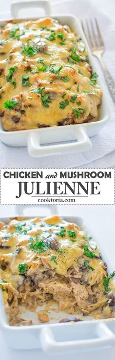 Succulent mushrooms and tender chicken cooked to perfection in creamy sauce and . Succulent mushrooms and tender chicken cooked to perfection in creamy sauce and topped with melted cheese. This Chicken Mushroom Julienne is to die for! Whole Food Recipes, Great Recipes, Cooking Recipes, Favorite Recipes, Recipe Ideas, Turkey Recipes, Chicken Recipes, Chicken Meals, Mushroom Chicken