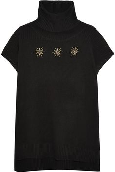 MARKUS LUPFER Embellished wool turtleneck poncho. #markuslupfer #cloth #poncho