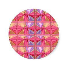 Elegant Diamond Pattern Rose Pink Smile Happy Show Round Sticker