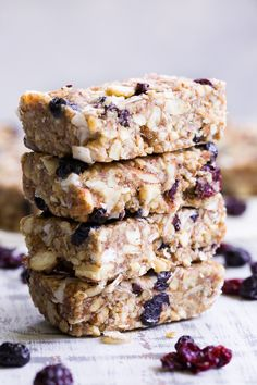 These no-bake grain free granola bars are loaded with sweet & tart dried cherries and berries, nuts, coconut and sweetened with dates to make them with no added sugar. They're paleo, dairy-free, gluten-free, and perfect for healthy snacking anytime!