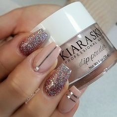 It's 'Only Natural' (D492) to want your nails to look as simply elegant as these. @chikkitas_nails is always creating beautiful sets! This one is done with @KiaraSkyNails Dip Powder. #nudenails #glitter #instagood #instanail #elegant #friday