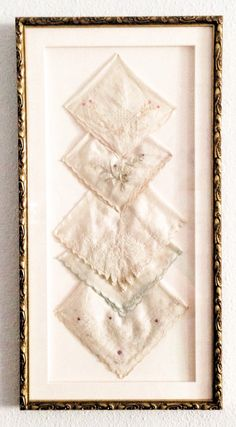 Finally found a perfect way to display vintage handkerchiefs! So excited to do this.