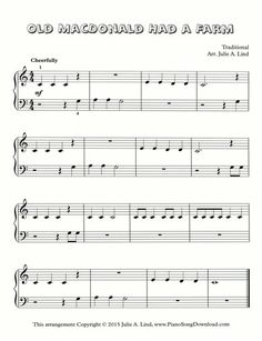 Old MacDonald Had a Farm | free piano sheet music to print. Includes a YouTube piano tutorial so you can be playing Old MacDonald Had a Farm instantly even without piano lessons! A great piece for beginning piano lessons.