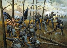 """""""Plenty of Fighting Today"""" by Keith Rocco. The 9th Illinois Infantry at Shiloh, April 6, 1862."""