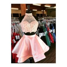 2 piece homecoming dresses - Halter 2 Piece Pink Satin Homecoming Dresses with Lace Mini Short Prom Dresses – 2 piece homecoming dresses 2 Piece Homecoming Dresses, Hoco Dresses, Dresses For Teens, Quinceanera Dresses, Cheap Dresses, Sexy Dresses, Dress Outfits, Formal Dresses, Summer Dresses