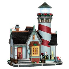 Lemax Crest Point Lighthouse. SKU# 65094. Released in 2016 as a Lighted Building for the Plymouth Corners Collection.