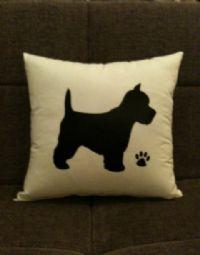 Black Westie Silhouette Cushion