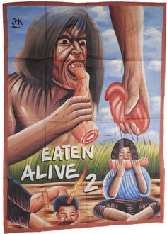 """""""Eaten Alive 2"""" Hand Painted Movie Poster from West Ghana."""