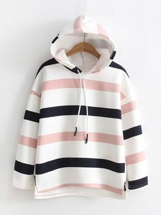 Dip Hem Striped Hoodie - Donelle N. Fashion Mode, Hijab Fashion, Teen Fashion, Korean Fashion, Fashion Outfits, Tumblr Outfits, Girl Outfits, Casual Outfits, Mode Adidas