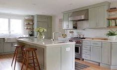 Image result for sage green shaker kitchen