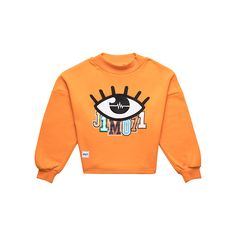 Eye Crewneck Orange ($48) ❤ liked on Polyvore featuring tops, oversized tops, crew-neck tops, crew top, crew neck tops and red top