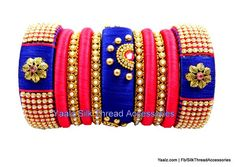 Yaalz Heavy Bridal Pearl Partywear Bangles Set In Blue & Peach Pink Colors