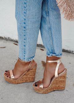 Rose Gold Wedges, Rose Gold Heels, Floral Wedges, Gold Wedge Shoes, Platform Wedge Sandals, Platform Shoes, Alexandria, Summer Wedges, Evening Sandals