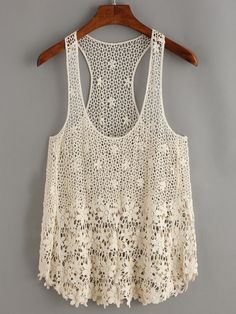 Apricot Crochet Hollow Out Tank Top.