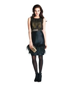 Shiny top and feathered skirt....I am in LOVE with this skirt.  CH Carolina Herrera
