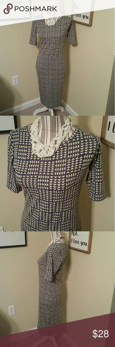 GUC! Lularoe Julia Geometric Triangle Dress Sz. Xs GUC! Lularoe Julia Geometric Triangle Dress Sz. Xs  Beautiful print Blue & Yellow Slim fit Easily dress this up or down.   Knee length LuLaRoe Dresses